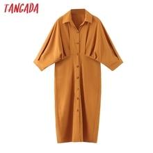 Tangada 2020 autumn women solid orange dress bat long sleeve buttons ladies work