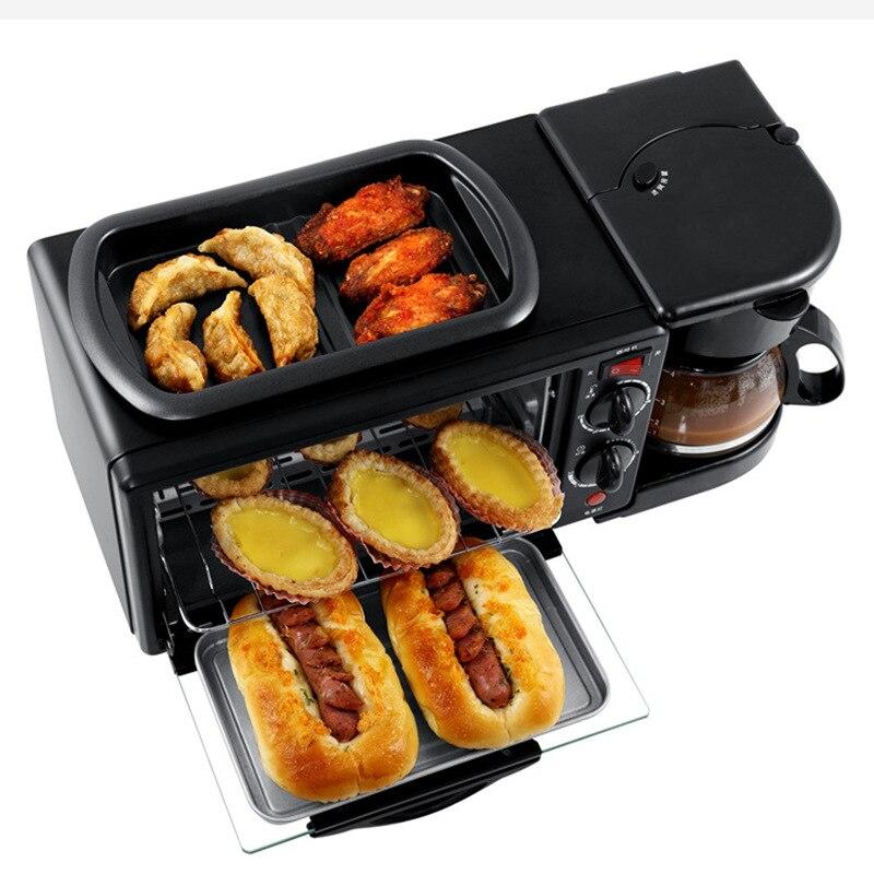Ménage multifonctionnel petit déjeuner machine 3 en 1 four électrique machine à pain grille-pain four pizza machine à café poêle