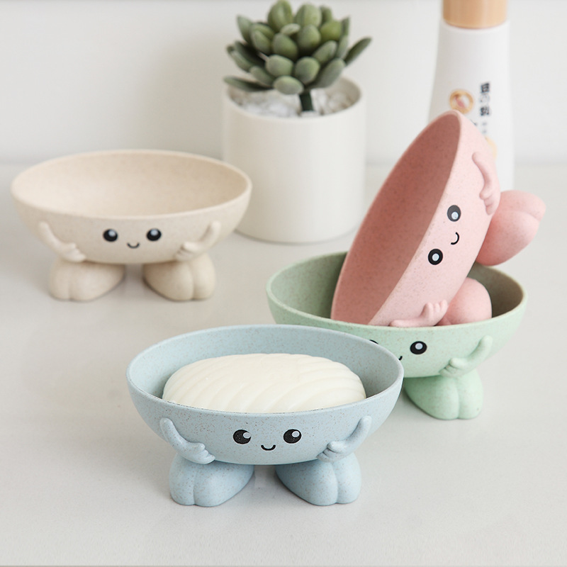 Candy Colors Cartoon Shape Soap Box With Cover Draining Practical Easy Clean Soap Holder Soap Dish Box Bathroom Gadgets