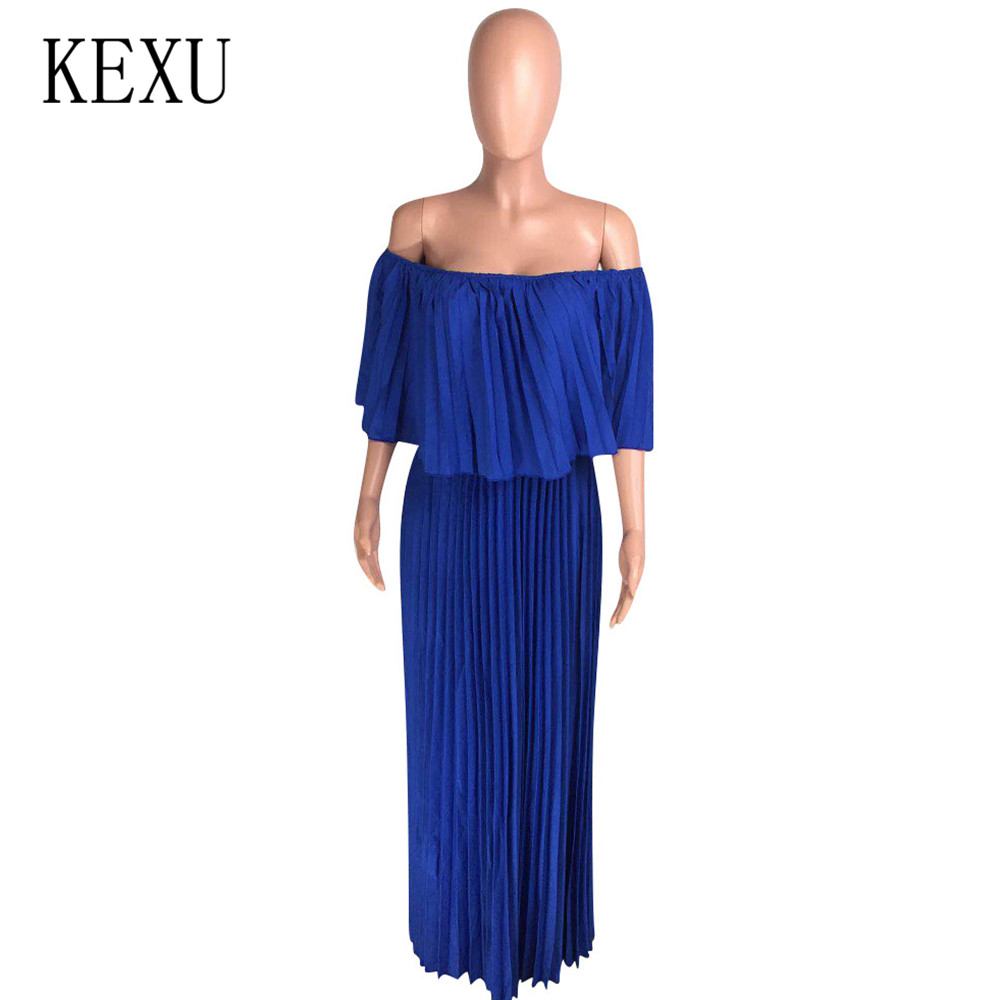 KEXU Women Sexy Off Shoulder Fashion Loose Pleated Dress Summer Female Vintage Elegant Casual Outside Lady Dress Plus Size XXL in Dresses from Women 39 s Clothing