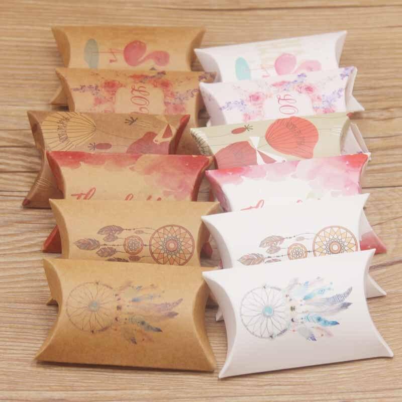 Present Paper Bag Gift Packaging Wedding Guest Perfect Pillow Box Jewelry Storage Box White / Kraft Print Multi-Printing