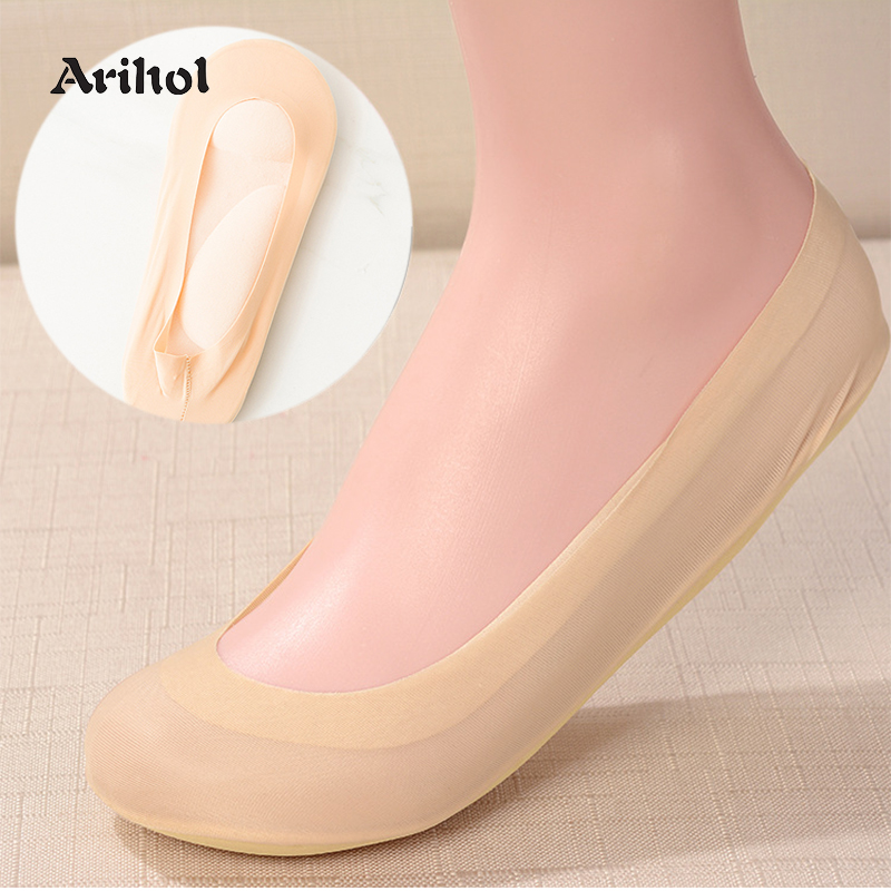 3 Pairs/Lot 3D Sponge Padded Socks Women's No Show Cushion Liner Ice Silk Boat Sock Foot Pain Relief Arch Support Insole Sock