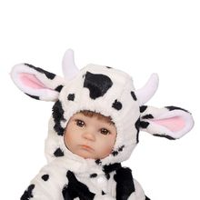 цена 40cm Silicon Vinyl Dolls Cow Clothes Newborn Lifelike Baby Gifts Early Childhood   E65D
