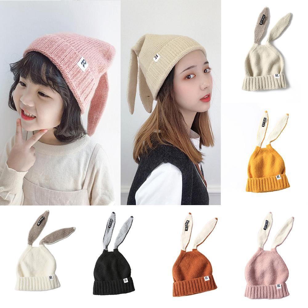 Novo 2019 chapéus de inverno das crianças bonito do bebê adulto criança crianças menino menina de malha coelho crochê orelha gorro feminino chapéu quente