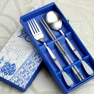 3pcs/box Cutlery Set Chinese Style Stainless Steel Cutlery Dinner Set Fork Spoon Chopsticks Kitchen Tableware for Kitchen Gift