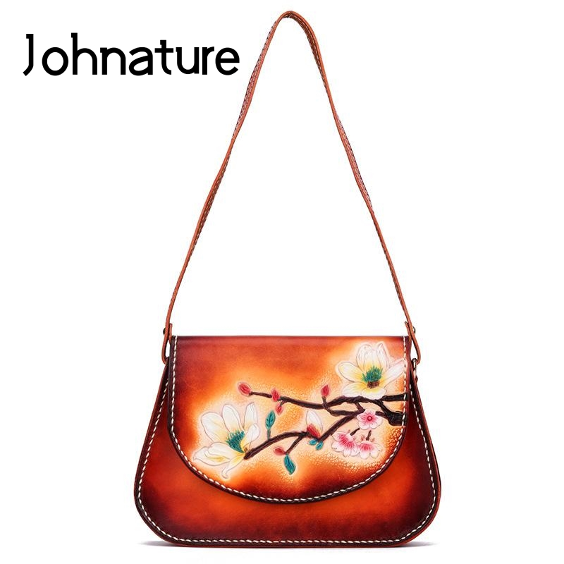 Johnature Chinese Style 2020 New Genuine Leather Women Shoulder Bags Handmade Carvings Retro Ladies Luxury Messenger Bag