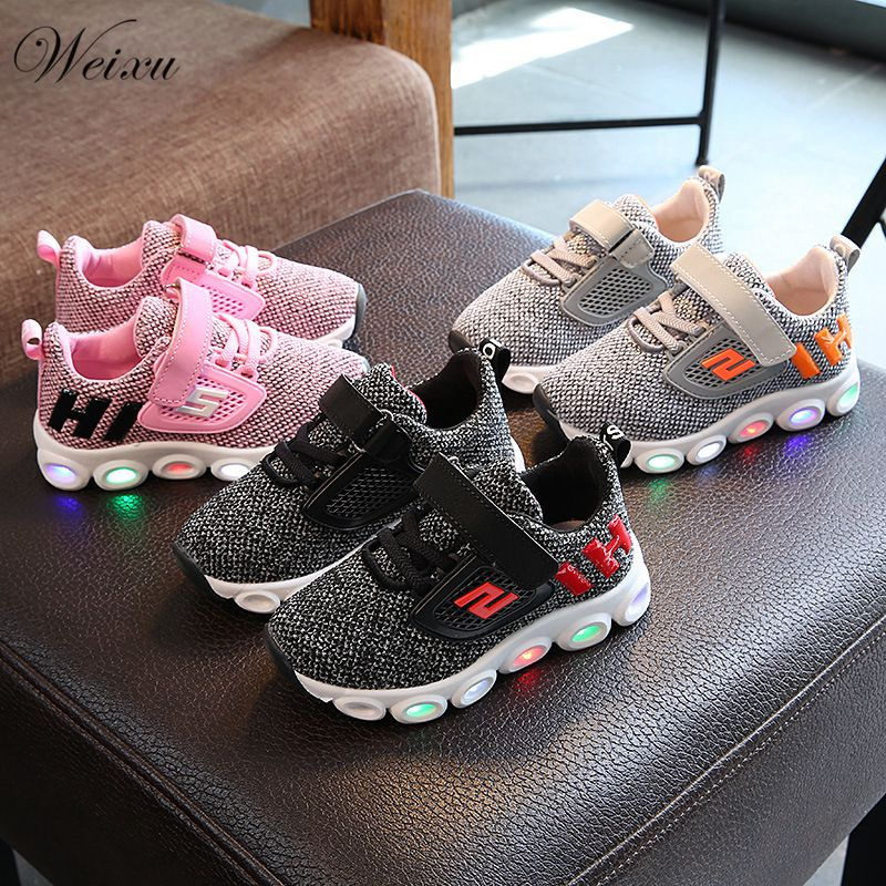 Children's LED Sports Shoes For Boys Girls High Quality Light Knitted Net Anti Slip Shoes Kids Students Tennis Luminous Sneakers
