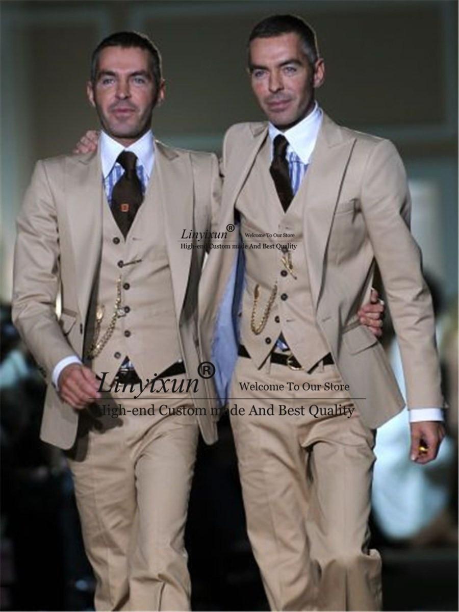 2019 Tailor-Made Beige Wedding Men Suit Slim Fit Tuxedo 3 Piece Suits Groom Prom Best Man Blazer Groomsmen Terno Masculino Suits