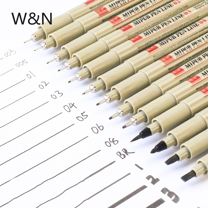 Professional Drawing Porous-Point Pens Needle Marker Pen Black Ink Soft Brush Pen Waterproof Painting Sketch Art Writing Tools