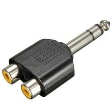 цена на 6.35mm 1/4 inch Male Stereo To 2 Dual RCA Female Y Splitter Audio Adapter Converter