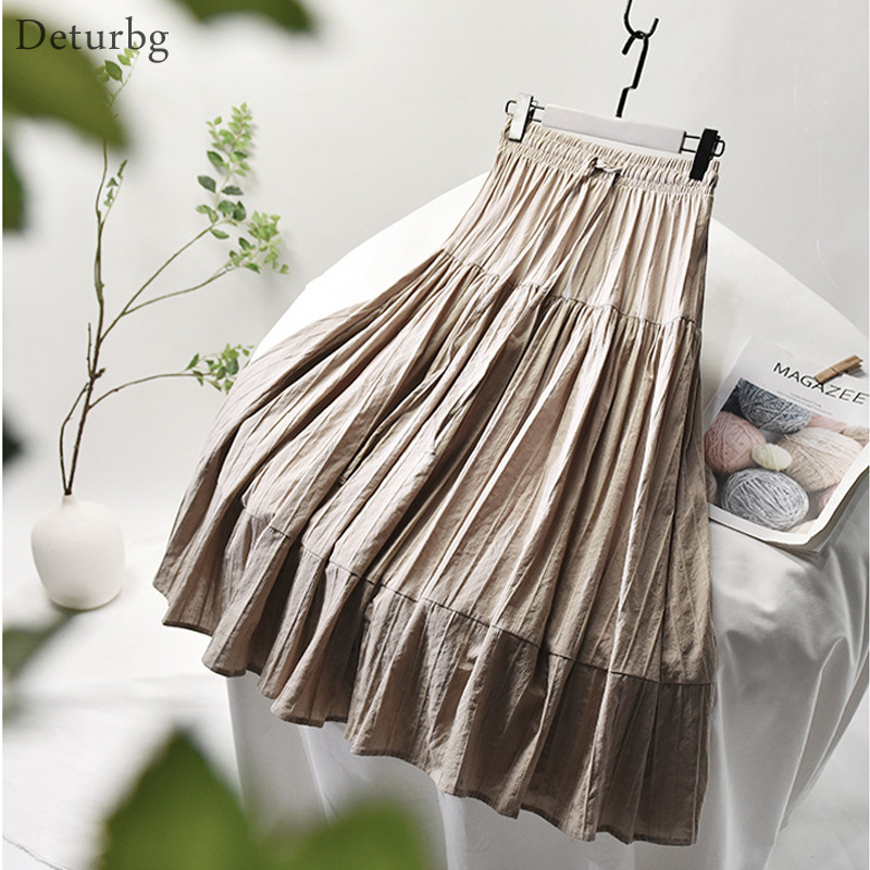 Womens Elegant Vertical Stripes Cotton Skirt Female Korean High Waist Pleated Lace-up White A-Line Midi Skirts 2020 Summer SK522