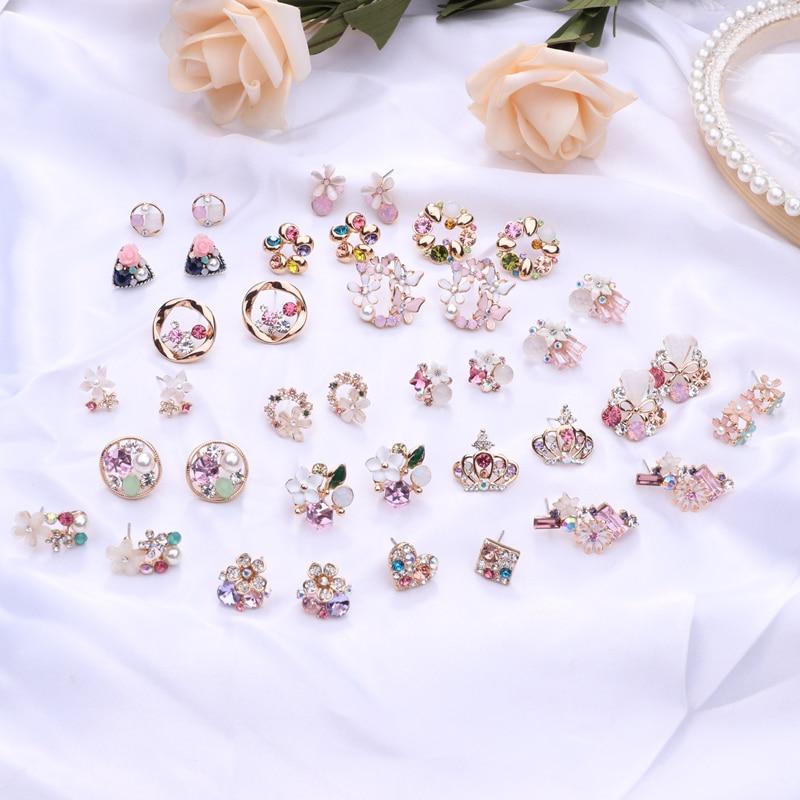 Korean Simulated Pearl Rhinestone Small Flower Stud Earrings Colorful Zircon Fashion Female Pendientes aretes de mujer brincos