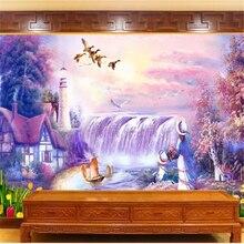 Mural Wallpaper Papel-De-Parede Home Improvement Waterfall-Tv Landscape Customized Fashion