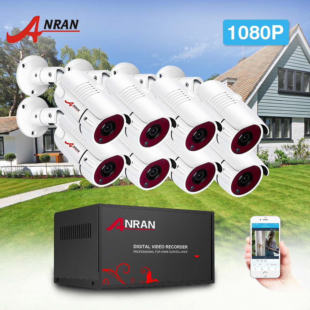 ANRAN AHD Camera System Analog HD DVR 1080P IR Night Vision Security Camera Kit Indoor&Outdoor 8CH DVR Video Surveillance System