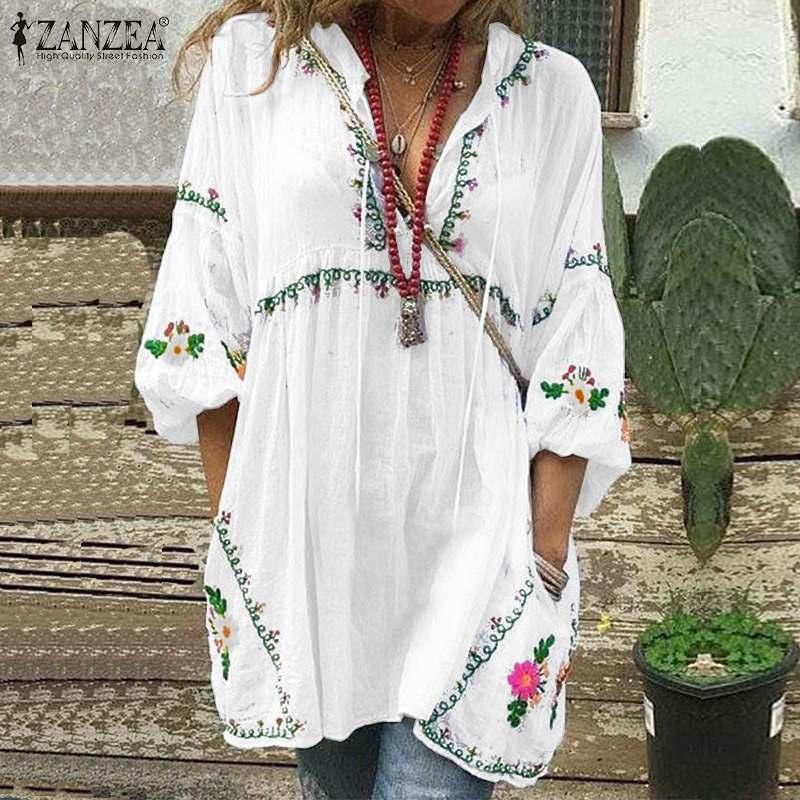 Bohemian Printed Tops Women's Autumn Blouse 2020 ZANZEA Fashion V Neck Long Sleeve Long Shirt Female Casual Blusas Mini Vestido7