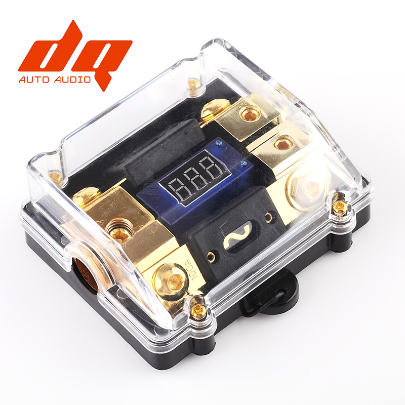 Universal Car Auto Digital LED Voltage Display Audio Amplifier ANL Fuse Holder Electrical Red LED 100A/150A/200A Fuse Box 1 IN 2