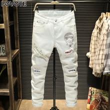 Ретро ностальгический POVOTE джинсы мужские прямые брюки шить дизайн мотоцикла тенденция вышивка белый