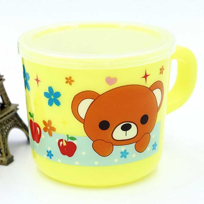Tazas plásticas para bebidas de niños pequeños de dibujos animados, taza para niños, taza para beber reutilizable con asa