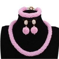 4UJewelry Nigerian African Bridal Jewelry set Pink Turkish For Women With Balls Earrings Free Shipping 2019 Party Necklace Set