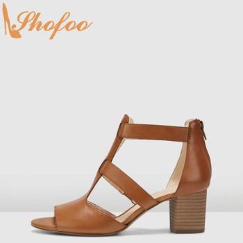 Brown Women Sandals High Chunky Heels Open Toe Ankle T-strap Buckle Large Size 13 15 Ladies Summer Fashion Mature Shoes Shofoo