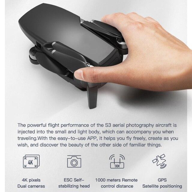 Zangão sem escova de fema s3 gps com câmera 4k hd 5g wifi dron fpv zangão 25 minutos distância rc 1km profissional rc quadcopter pk ex5 6