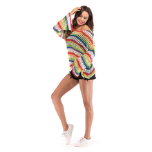 Rainbow Striped Off Shoulder Fashion Women Pullover Knit Loose Oversized Colorful Sweater Summer Openwork Color Sweater 5845