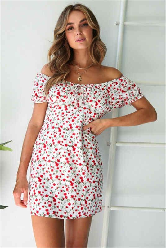 Vestido corto bohemio informal de mujer, vestido playero de manga corta, vestido playero con flores y cuello redondo para fiesta nocturna de verano
