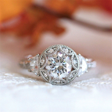 Vintage Crystal Zircon Ring For Women Accessories Jewelry Party Engagement Bridal Wedding Gift Simple