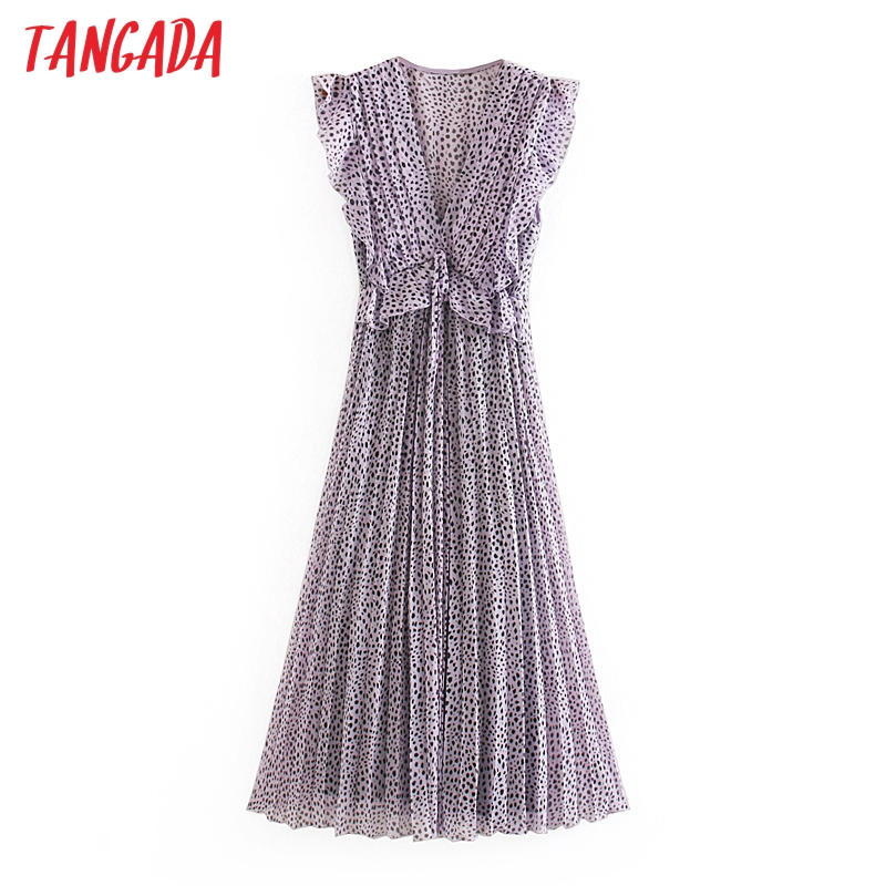 Tangada Fashion Women Purple Leopard Print Long Dress Ruffles V Neck Sleeveless Ladies Vintage Chiffon Dress Vestidos  5Z192