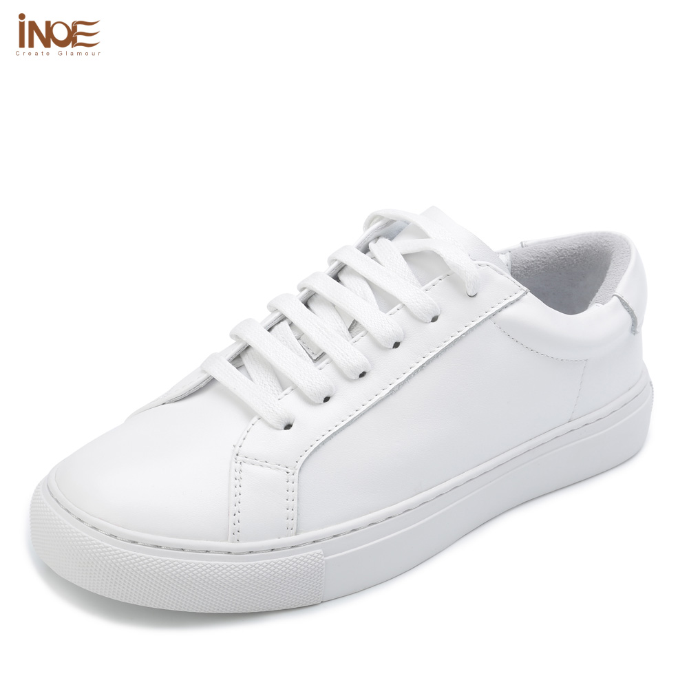 INOE Classic Spring Genuine Cow Leather Women Shoes Casual Sneakers Driving Cars Leisure Shoes Woman For Walking Flats White