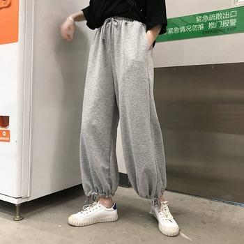 HOUZHOU szare spodnie dresowe dla kobiet biegaczy 2020 moda jesień Harem spodnie dla kobiet koreański styl ponadgabarytowych kobiet tanie i dobre opinie POLIESTER Spodnie do kostek Z KIESZENIAMI CN (pochodzenie) Na wiosnę jesień ZT002 Stałe Na co dzień Spodnie typu Harem