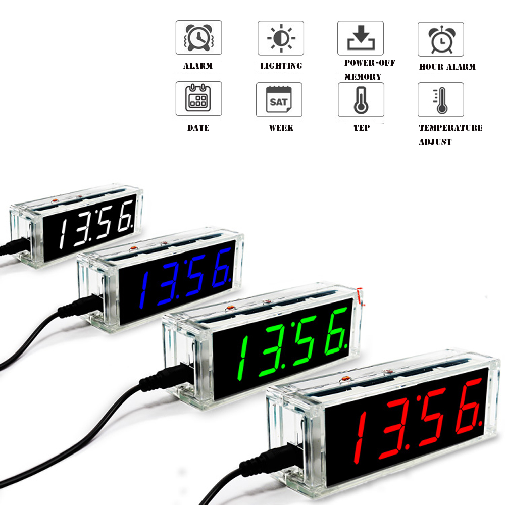 Diy Clock Kit Digital Tube Temperature Alarm Week Display 51 MCU DS1302 Diy Electronic Kit  Soldering Subjest Assembly