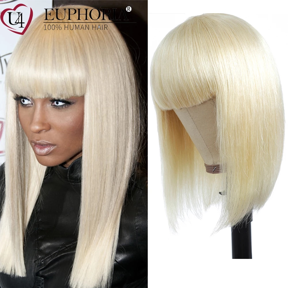 Blonde 613 Straight Hair Bob Wigs Brazilian Remy Human Hair Full Machine Non Lace Wigs With Bangs Ombre Platinum 8-28In EUPHORIA