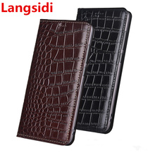 Langsidi genuine leather magnetic flip case card holder for OPPO F11 Pro OPPO A9 2020 A9 2019 OPPO A5 2020 A5S AX5S leather case cheap Flip case with card slot Kickstand Dirt-resistant With Card Pocket Anti-knock Cowhide leather Microfiber