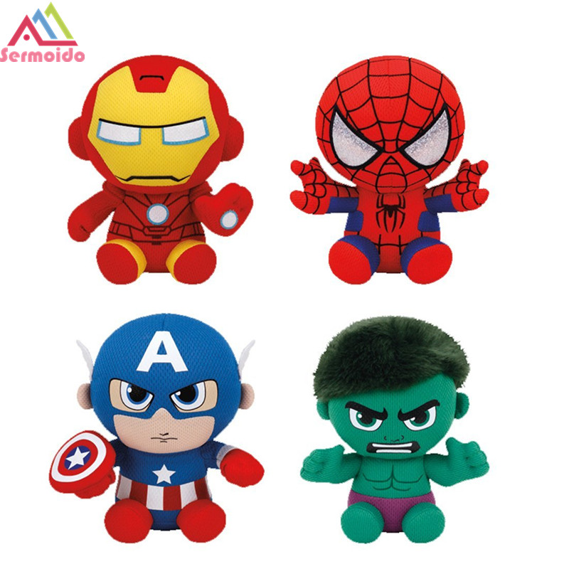 DC Marvel Plush Toys Avengers Superhero Plush Dolls Captain America Ironman Iron Man Spiderman Hulk Plush Soft Toy Spider Man