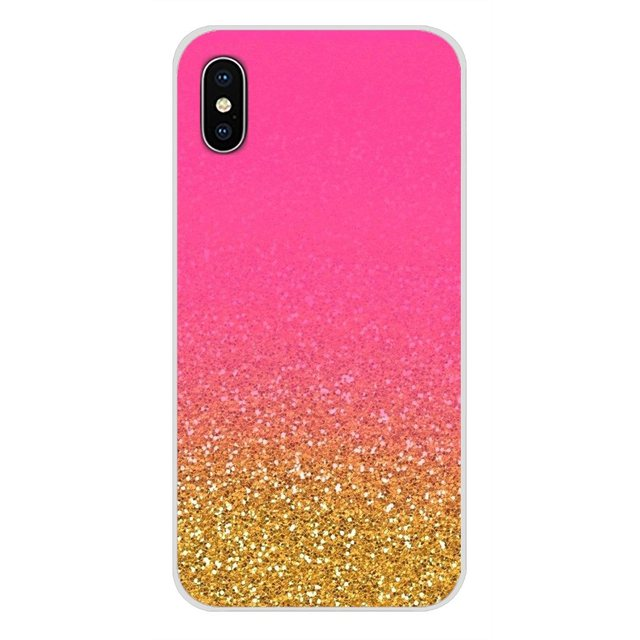 Accessories Phone Case Cover Pink Gold rose Glitter For Samsung Galaxy S3 S4 S5 Mini S6 S7 Edge S8 S9 S10 Lite Plus Note 4 5 8 9