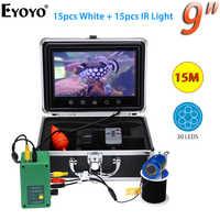 Eyoyo 9 Pollici 1000TVL macchina fotografica subacquea per la pesca a raggi infrarossi Fish Finder 15pcs LED Bianco + Lampada A Raggi Infrarossi Fishfinder ecoscandaglio