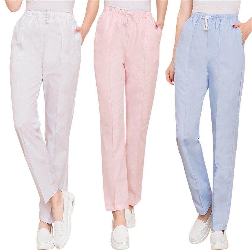 Medical Work Wear Woman Elastic Waist Hospital Nurse Pants Cotton Dental Scrub Spa Trousers Summer Winter Doctor Nursing Bottoms