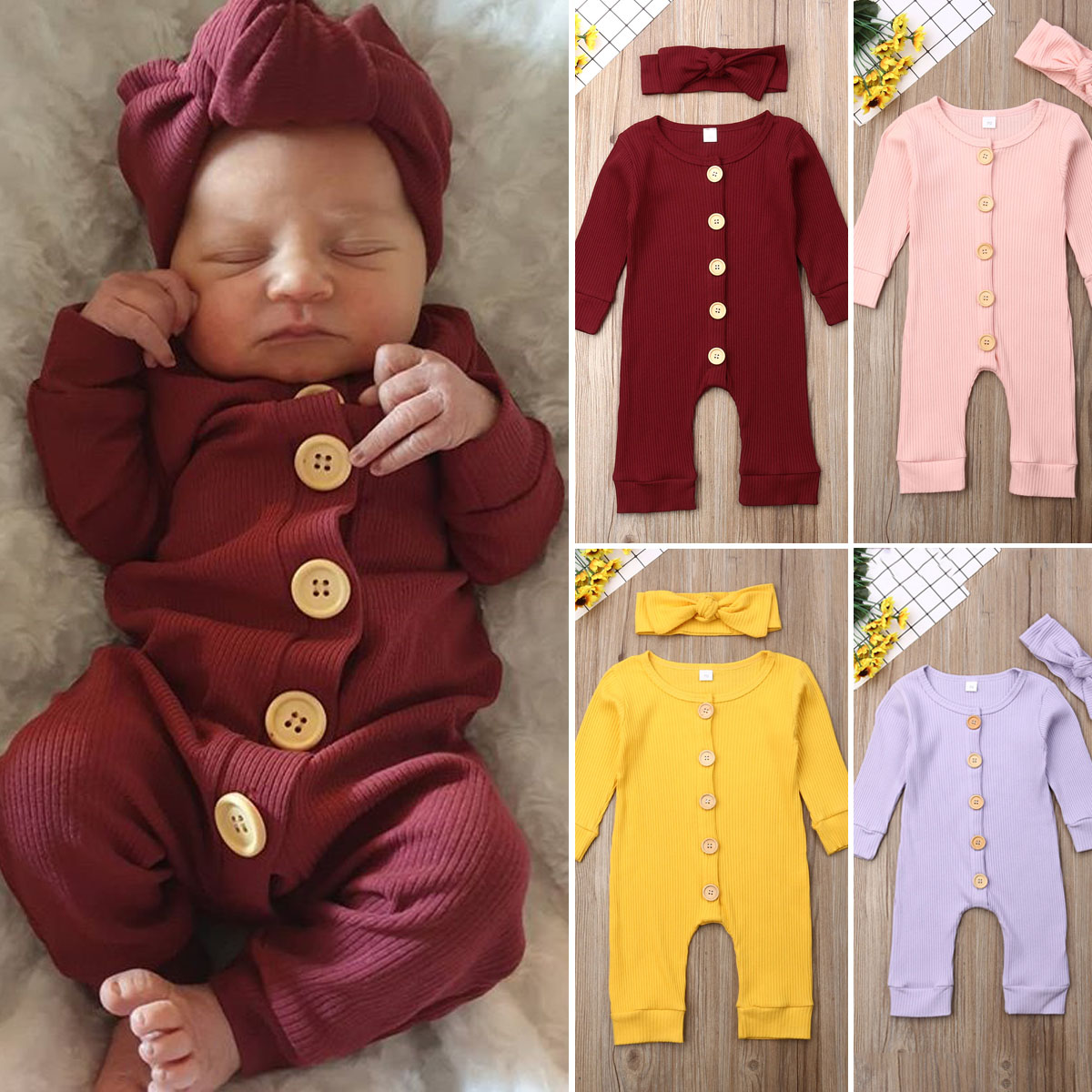 H6d05708378e94af6b4c25a347582a8b0R Spring Fall Newborn Baby Girl Boy Clothes Long Sleeve Knitted Romper + Headband Jumpsuit 2PCS Outfit 0-24M