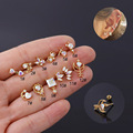 New 1PC AB Rainbow CZ Love Arrow Through The Heart Stud Earrings for Women Helix Labret Piercing Cartilage Labret Jewelry