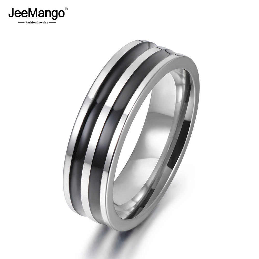 JeeMango Trendy Jewelry Ring Simple Design Hoop Titanium Stainless Steel Anniversary Rings For Women Men Anillos Mujer JR17148