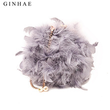 2018 Winter Real Women Ostrich Feather Shoulder Bag Chain Bags Desinger Ladies Small Handbags Women Teenagers Clutch Purse Bags