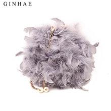 Bolso de hombro de plumas de avestruz para mujer, bolsa de hombro con cadena, de diseño pequeño para mujer, bolsos cartera bolsa para adolescentes, 2018