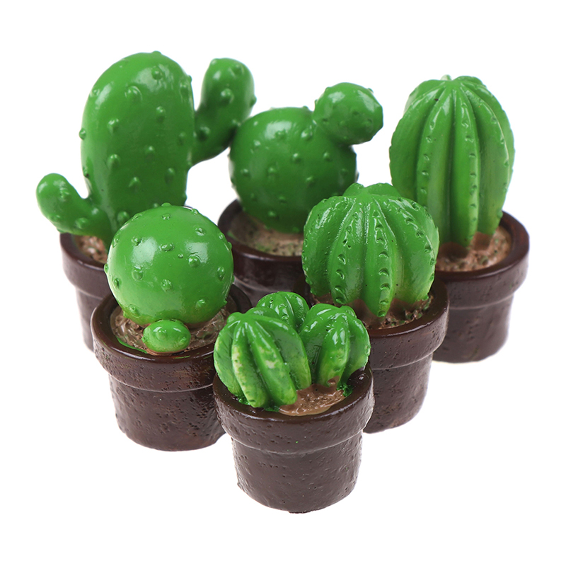 5Pcs Green Mini Tree Potted For 1:12 Dollhouse Miniature Cactus Succulents Green Plant In Pot Doll House Simulation Potted Plant
