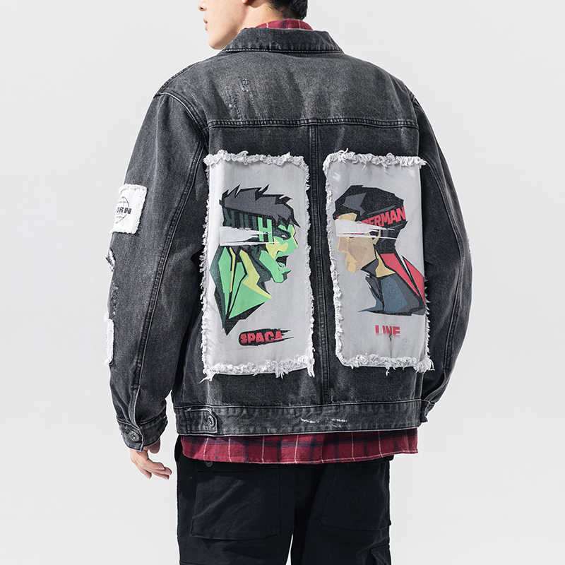 Streetwear Jeans Jacket Men 2020 Spring Denim Jackets Men Patchwork Casual Man Outwear