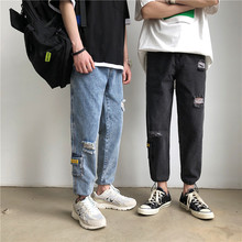 купить Autumn Hole Jeans Men Fashion Washed Casual Denim Pants Man Streetwear Wild Hip Hop Loose Tooling Jeans Trousers Men S-2XL дешево
