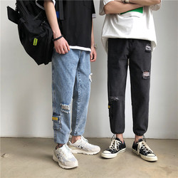 Autumn Hole Jeans Men Fashion Washed Casual Denim Pants Man Streetwear Wild Hip Hop Loose Tooling Jeans Trousers Men S-2XL