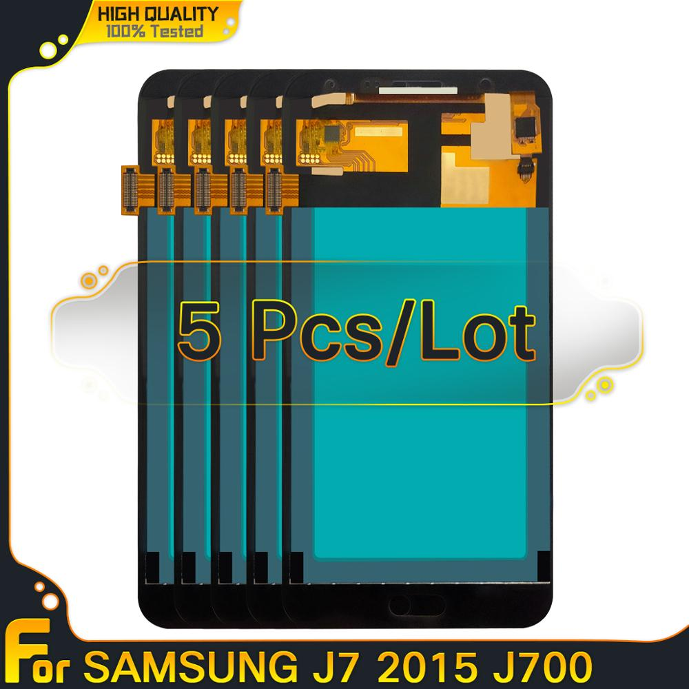 Cópia oled lcd 5 peças 5 peças para samsung galaxy j7 2015 j700 j700f j700h j700m display lcd de toque digitador da tela substituição