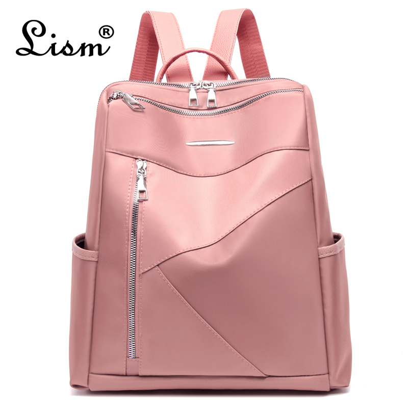 Female Backpack Waterproof Backpack Large Capacity Stitching College Style Bag 5 Color 2019 Winter New Warm Color Pink Main