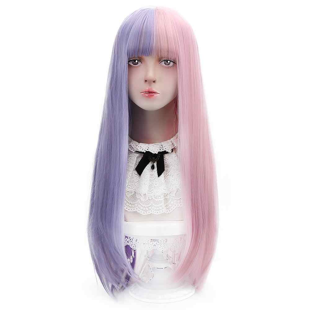 Free Beauty Long Straight Synthetic Baby Purple Pink Blue Brown Black Blonde Hair Wigs with Bangs for Lolita Bohemian Cosplay